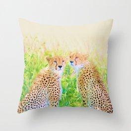 Cheetah Brothers Throw Pillow