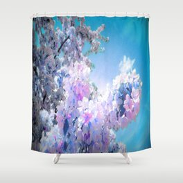Flowers Lavender Pink Periwinkle Turquoise Shower Curtain