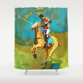poloplayer abstract turquoise ochre Shower Curtain