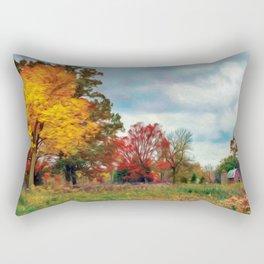 Red Barn Fall Rectangular Pillow