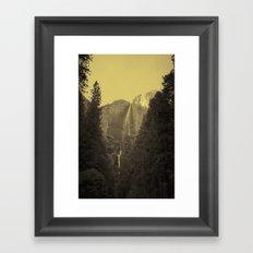 Yosemite Falls Tin Yellow Framed Art Print