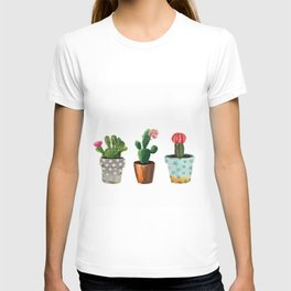 Three Cacti With Flowers On White Background T-shirt