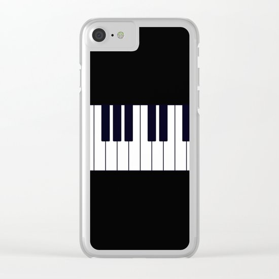 Piano Keys - Black and white simple piano keys pattern minimalistic music themed artwork Clear iPhone Case