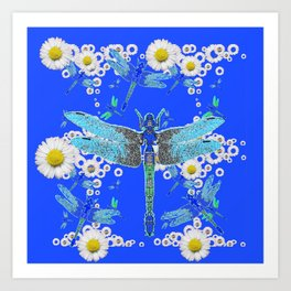 BLUE DRAGONFLIES WHITE DAISY FLOWERS  ART Art Print