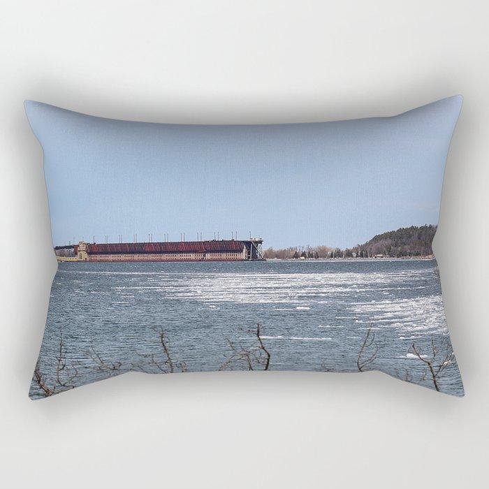 Ore Dock Across the Harbor Rectangular Pillow