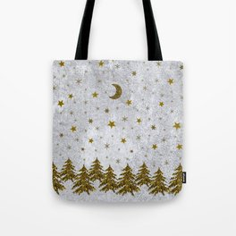 Sparkly Christmas tree, stars, moons on abstract paper Tote Bag