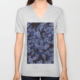 Midnight Blue Wildflowers Unisex V-Neck