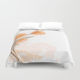 Abstract Peach Watercolor Tulips Duvet Cover