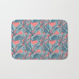 Pink Exotic Tropical Banana Palm Leaf Print Bath Mat