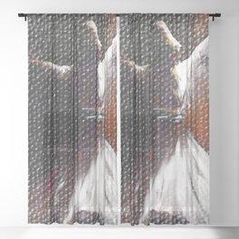 Sufi whirling dance ,purity, Peace Sheer Curtain
