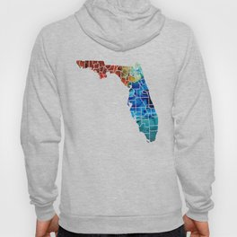 Florida - Map by Counties Sharon Cummings Art Hoody