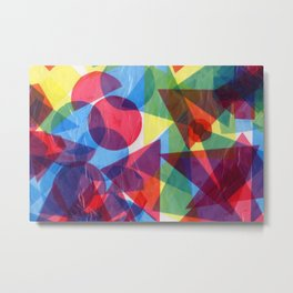 Colorful retro abstract geometric shapes collage hand drawn illustration Metal Print