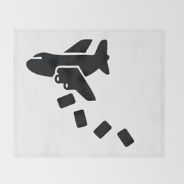 Cargo Airplane Supply Drop Throw Blanket