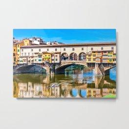 Ponte Vecchio and Kayak Metal Print