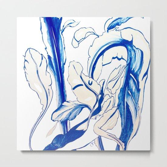 Plant in Blue Marker - Leaf of Life Miracle Leaf - Original Blue Metal Print