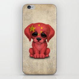 Cute Puppy Dog with flag of China iPhone Skin