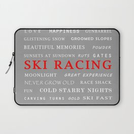 Ski Racing Light Grey Laptop Sleeve