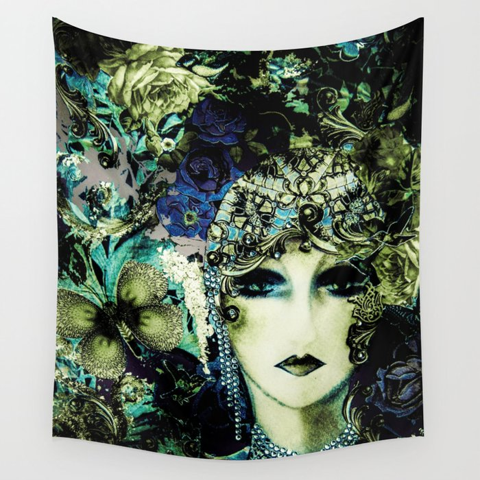 ART DECO FLAPPER COLLAGE POSTER PRINT 70S ROSES BIRDS BUTTERFLIES LADY Wall Tapestry