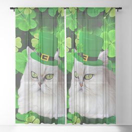 St. Patricks Day Irish Cat Sheer Curtain