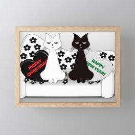 Christmas Cats Black and White Cartoon  Framed Mini Art Print