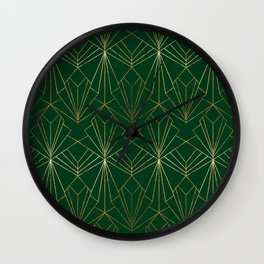 Art Deco in Gold & Green Wall Clock