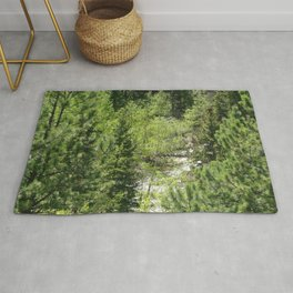 Watercolor Tree, Side, Conifer Forest 01, Mixed Conifers Abound Rug