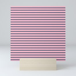 Pink and Navy Blue Horizontal Stripes Mini Art Print