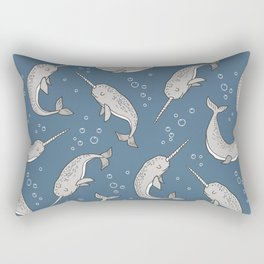 Narwhal  Grey on Navy Blue Rectangular Pillow