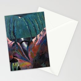 A Night Fantastique, Moonlight Ocean - Tuscany landscape painting by Marianne von Werefkin Stationery Cards
