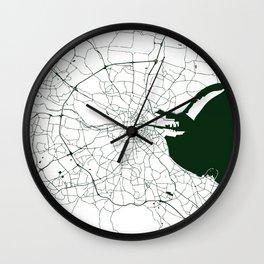 White on Dark Green Dublin Street Map Wall Clock