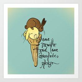 Vanilla and Chocolate ice cream  Art Print