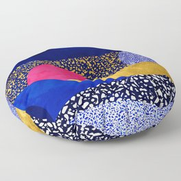 Terrazzo galaxy blue night yellow gold pink Floor Pillow