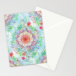 Messy Boho Floral in Rainbow Hues Stationery Cards
