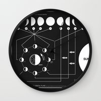 friends Wall Clocks featuring Phases of the Moon infographic by Nick Wiinikka