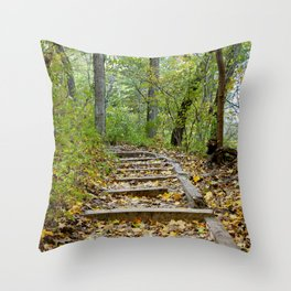 Starved Rock Hiking Trail (Fall Photography) Throw Pillow