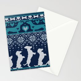 Fair Isle Knitting Doxie Love // navy blue background white and teal dachshunds dogs bones paws and hearts Stationery Cards