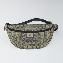 Square geometric ornament in olive color Fanny Pack