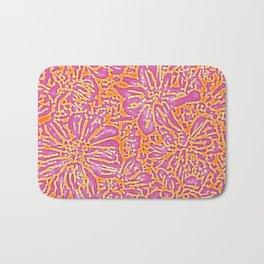 Marigold Lino Cut, Batik Pink And Orange Bath Mat