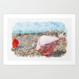 Aquarelle sketch art. Two big buoys on the beach, azure sea and the rocky beach, Tyrrhenian sea in Tuscany, Italy Art Print