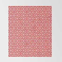 Red and White Greek Key Pattern Throw Blanket