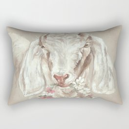 Goat with Floral Wreath by Debi Coules Rectangular Pillow