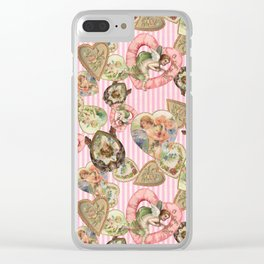 Victorian Romantic  Heart Frames Toss in Vintage Pink + White Striped Paper Clear iPhone Case