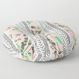Pattern flowers and cactus Floor Pillow