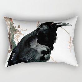 raven, raven crow artwork black brown Rectangular Pillow