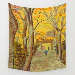 Asano Takeji Japanese Woodblock Print Vintage Mid Century Art Autumn Trees Shinto Shrine Wall Tapestry