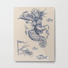 Sea Posse I - Warrior, Navy Print Metal Print