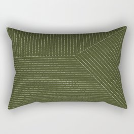 Lines (Olive Green) Rectangular Pillow