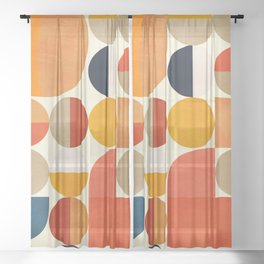 geometric abstract shapes autumn Sheer Curtain