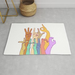 Wild Thing Hand on White Alphabet Illustration Rug