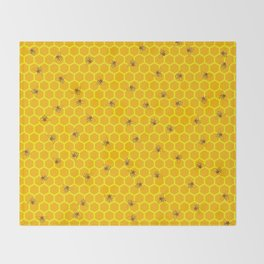 Mind Your Own Beeswax / Bright honeycomb and bee pattern Throw Blanket